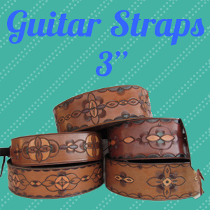Handcrafted Leather Guitar Straps - 3""
