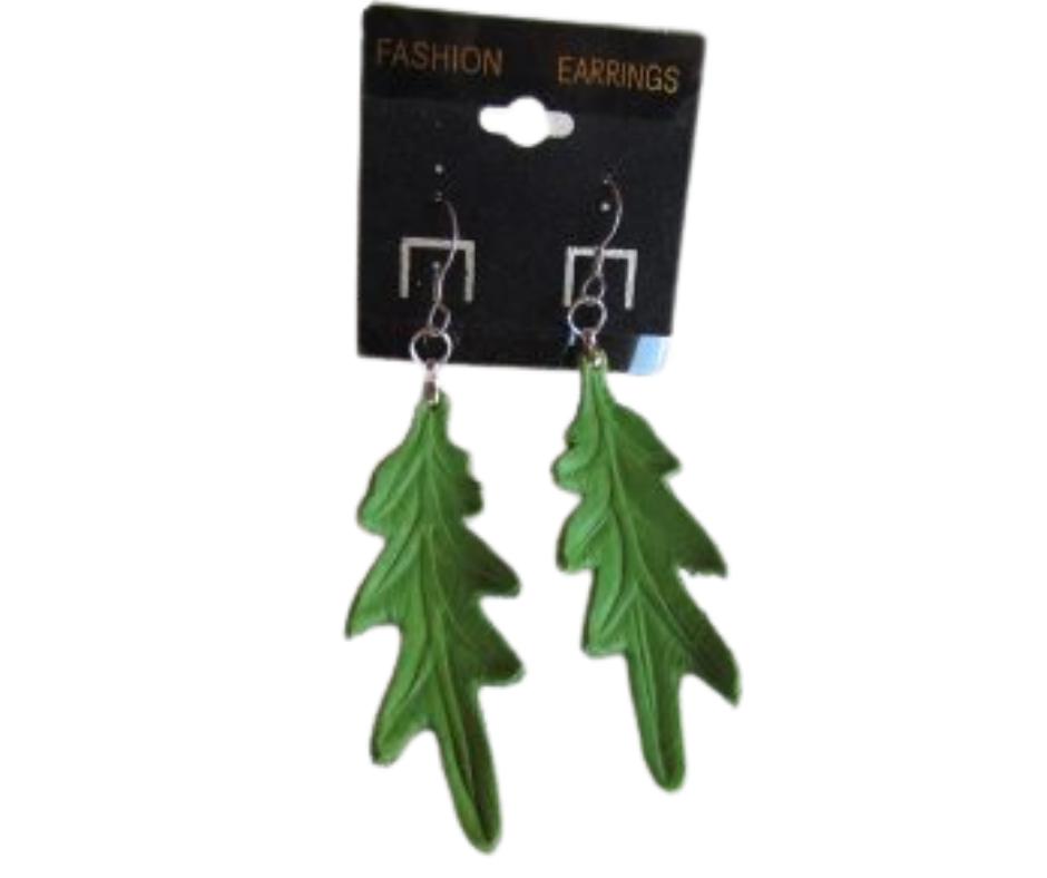 leather leaf jewelry White oak earrings