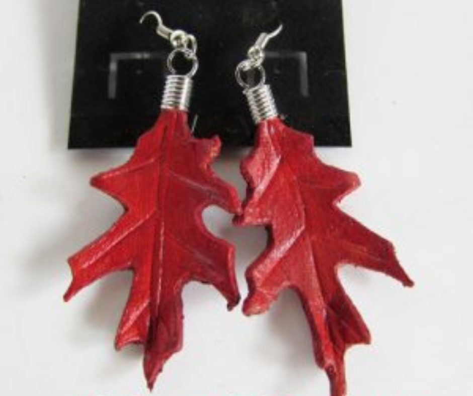 leather leaf jewelry Red oak earrings