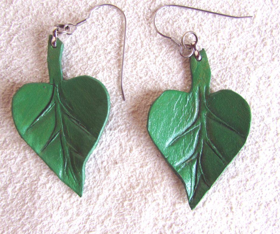 leather leaf jewelry Catalpa Earrings