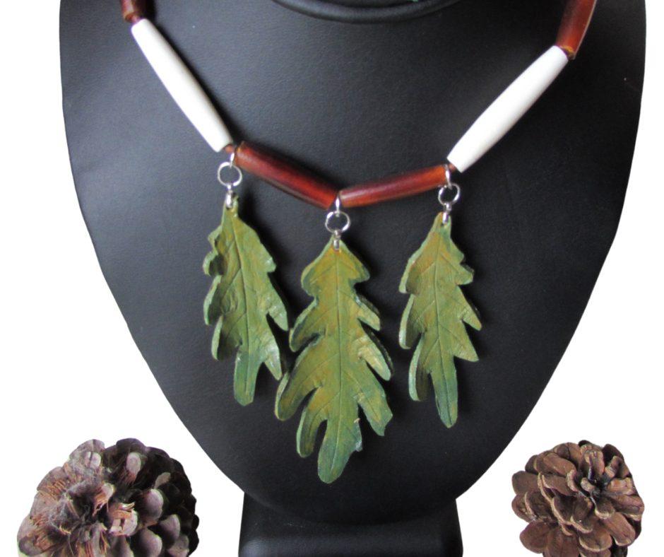 leather leaf jewelry WhiteOak Leaf Necklace