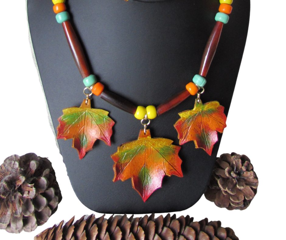 leather leaf jewelry Fall Maple Leaf Necklace