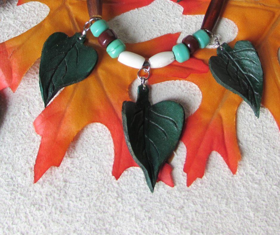 leather leaf jewelry Catalpa Three Leaf Necklace