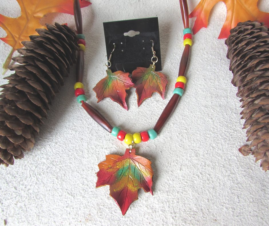 Leather Maple Leaf Set includes a hand painted 3 leaf necklace, earrings and a stick barrette.