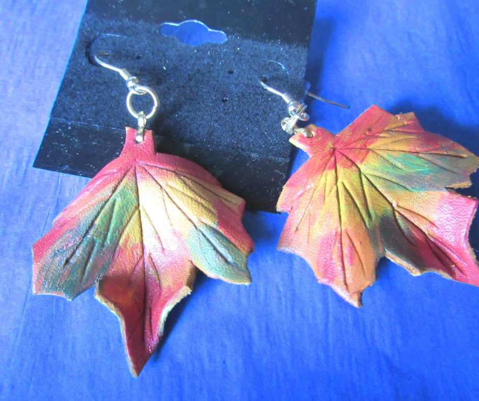 leather leaf jewelry Fall Maple Leaf Earrings