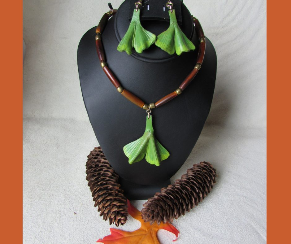 leather leaf jewelry Ginkgo Necklace & Earrings