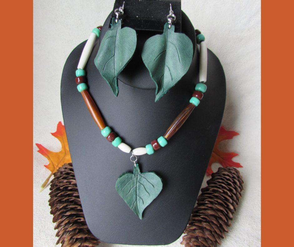Leather Leaf Jewelry Catalpa SEt