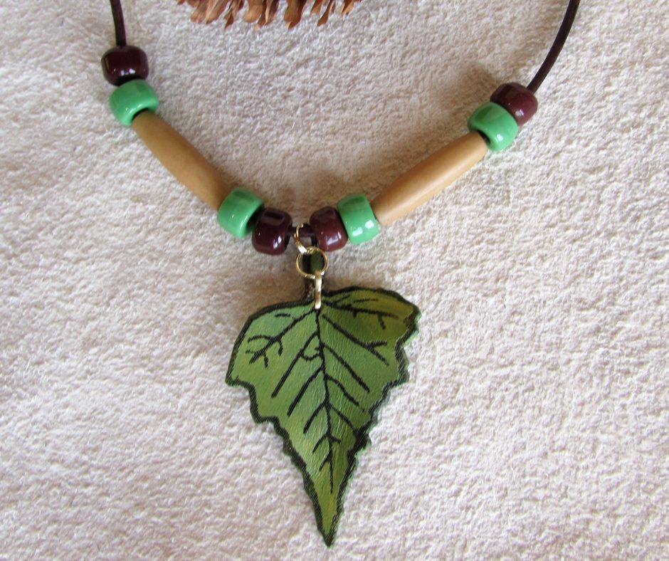 leather leaf jewelry White Birch Leaf Necklace