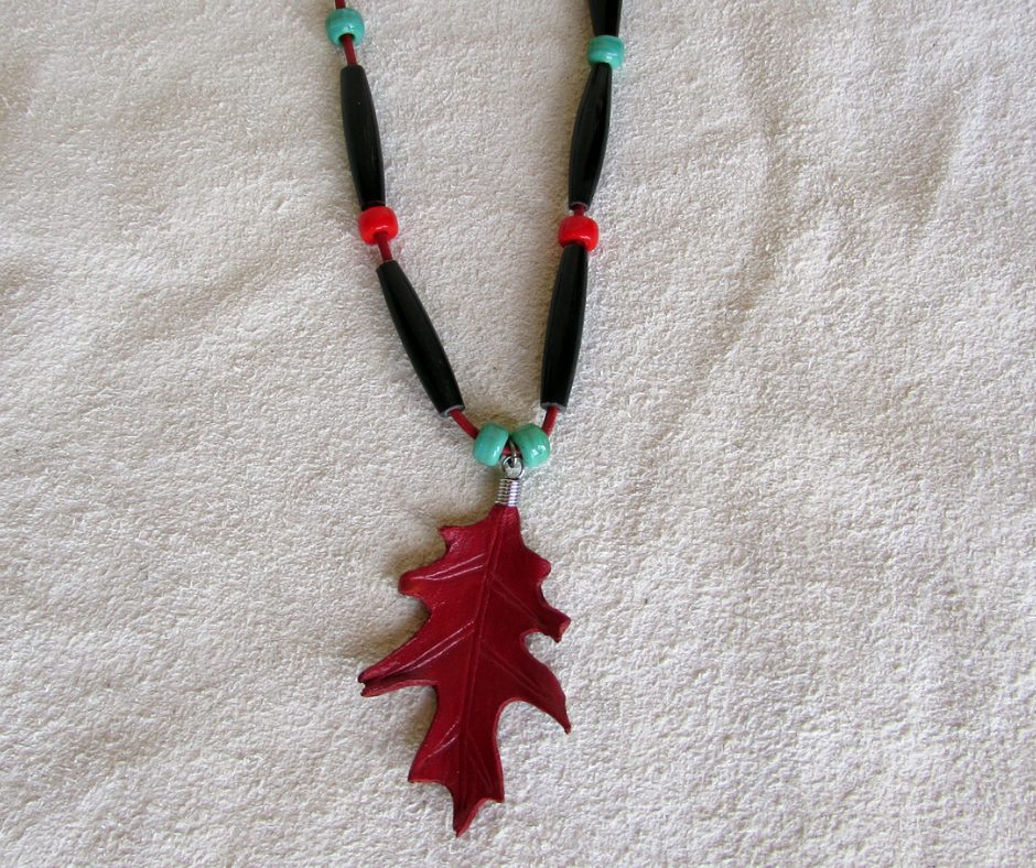 leather leaf jewelry Red Oak Leaf Necklace