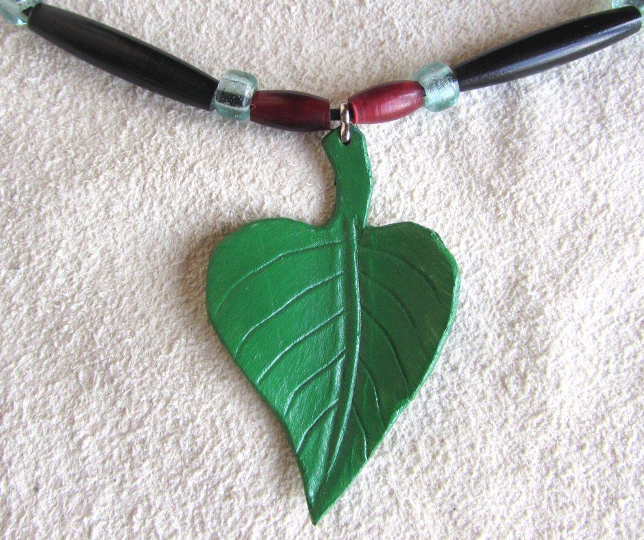 leather leaf jewelry Catalpa Leaf Necklace
