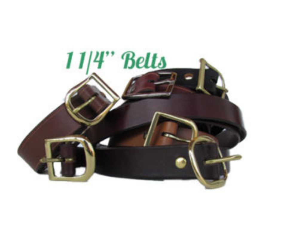 """11/4"""" leather belts in 6 colors"""