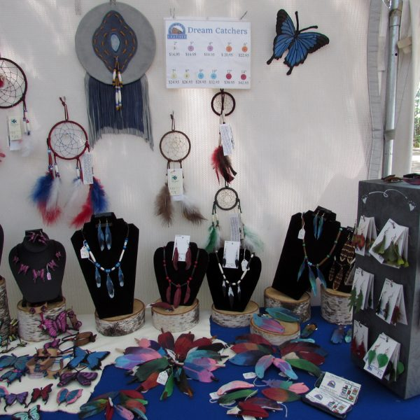 booth set up handmade leather goods
