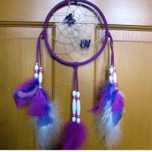 "Fuschia Dreamcatcher with 2 handpainted leather pink & purple butterflies 7"""