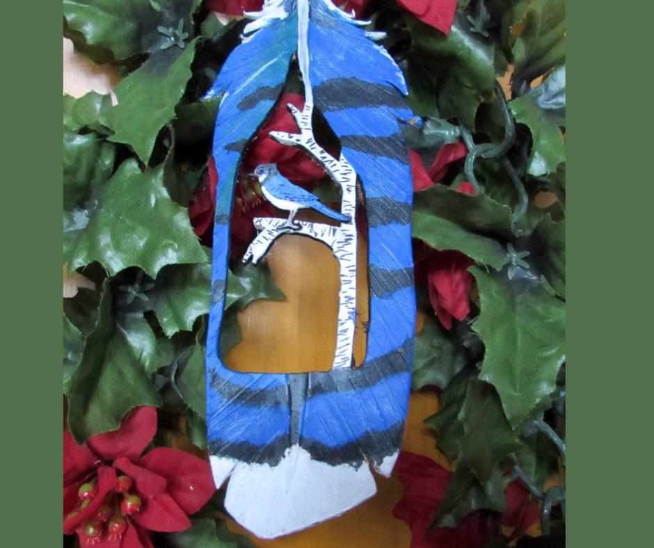Leather Christmas Ornament Blue Jay.