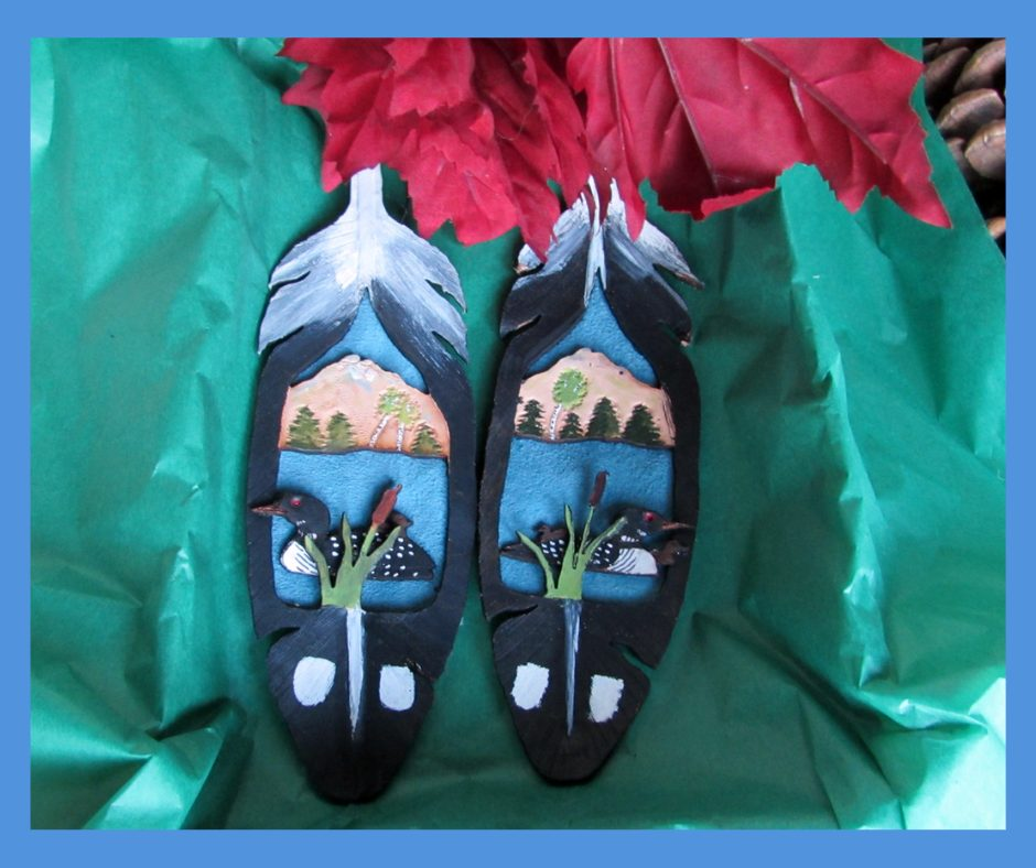 Leather Feather Loon Ornament 2 piece set