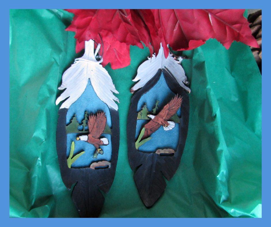 Leather Feather Eagle Ornament 2 piece set
