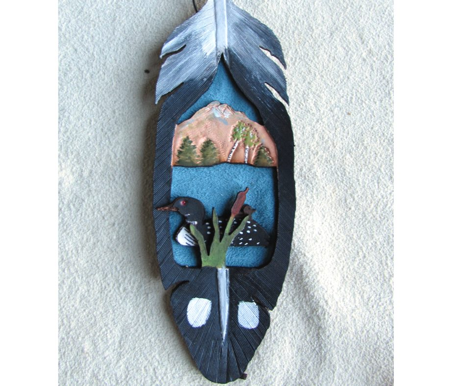 Leather Christmas Ornament Loon