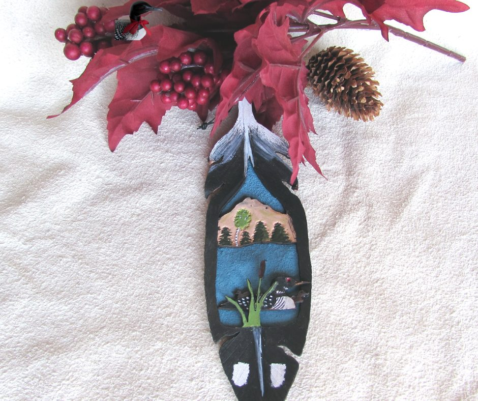 Leather Feather Loon Ornament