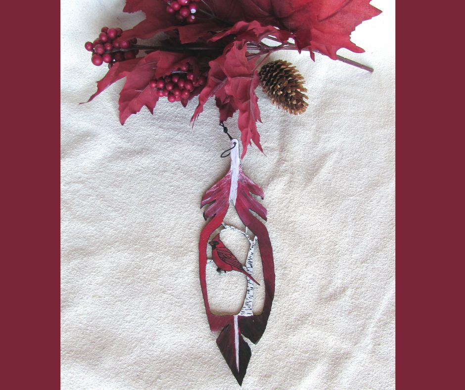 Leather Christmas Ornament - Cardinal