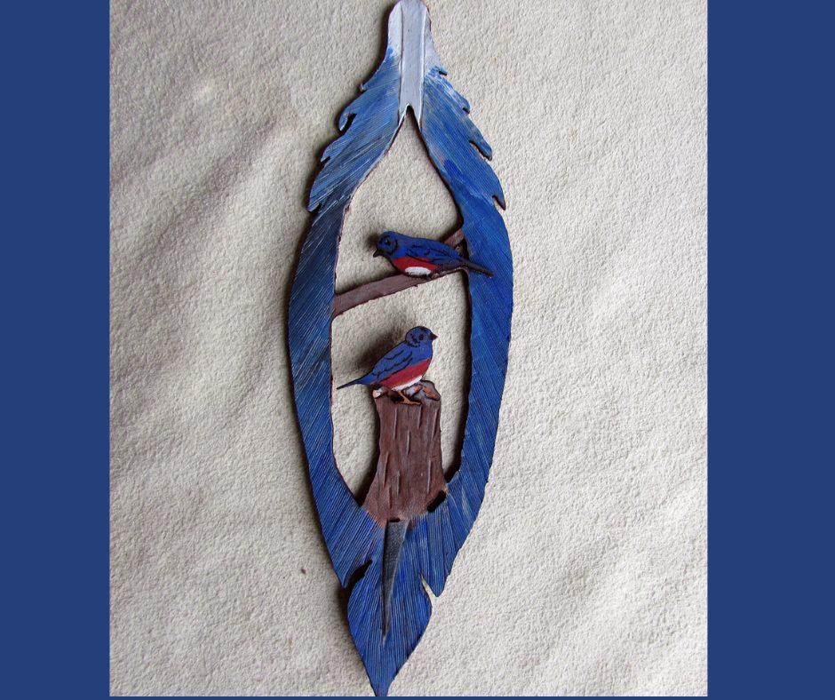 Leather Christmas Ornament Bluebird